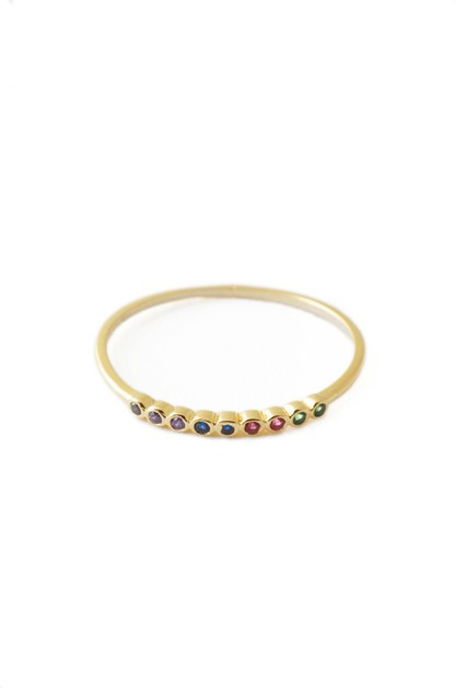 Rainbow Bezel Ring - orangeshine.com