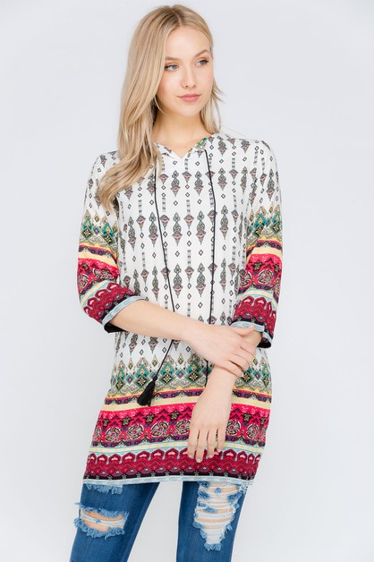 Border Print Short Dresses - orangeshine.com