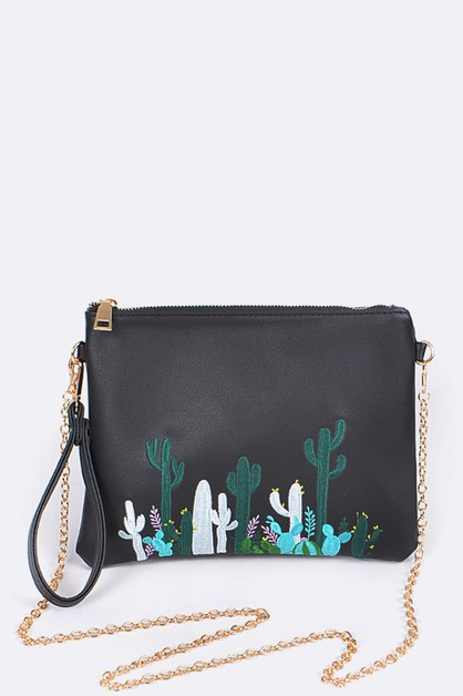 Cactus Embroidery Convertible Pouch - orangeshine.com