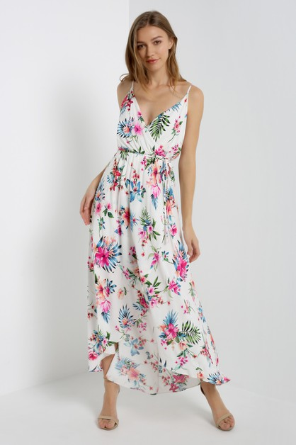 White Floral Surplice Maxi Dress - orangeshine.com