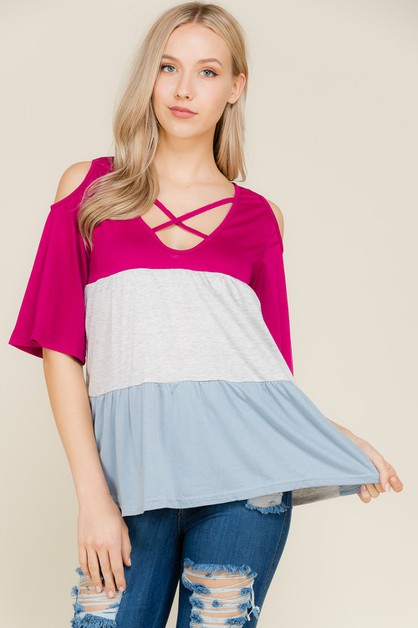Color Block Sleeve Top - orangeshine.com