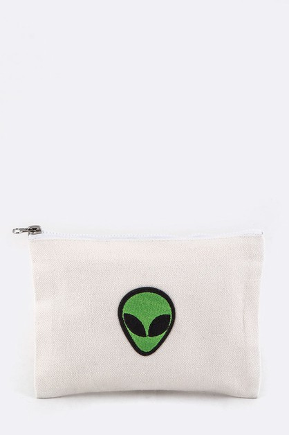 Alien Embroidery Canvas Pouch - orangeshine.com