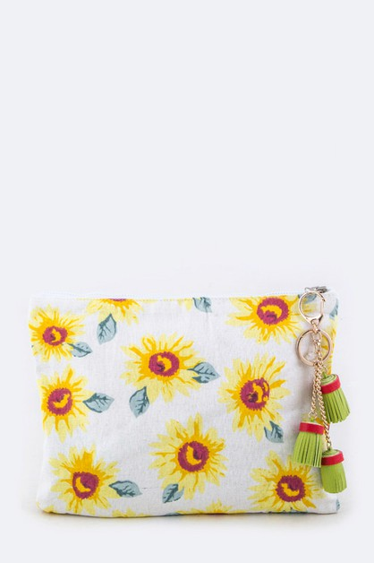 Sun Flower Cotton Linen Pouch - orangeshine.com