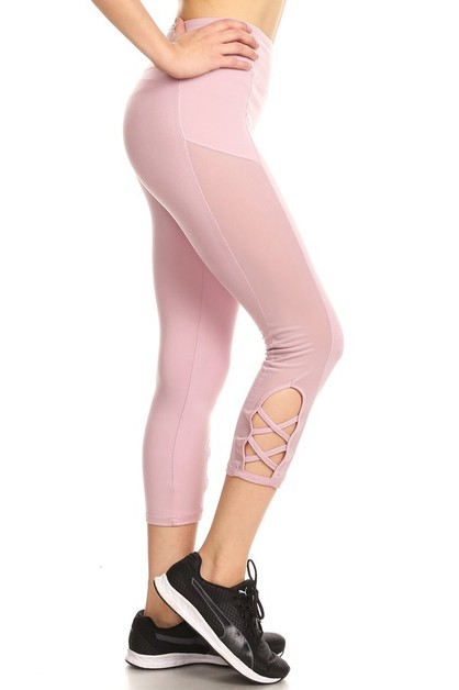 Mesh Capri Sports Leggings Cross  - orangeshine.com
