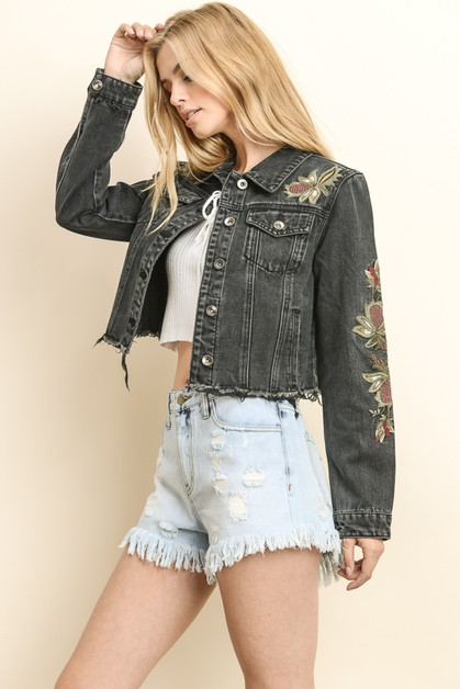 EMBROIDERED DISTRESSED DENIM JACKET - orangeshine.com