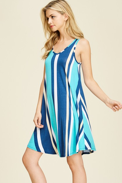 RELAXED VARI STRIPED V-NECK DRESS - orangeshine.com