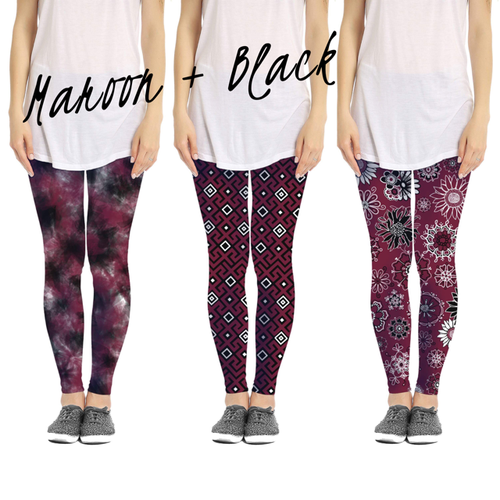 Maroon and Blk Leggings  3 Patterns - orangeshine.com
