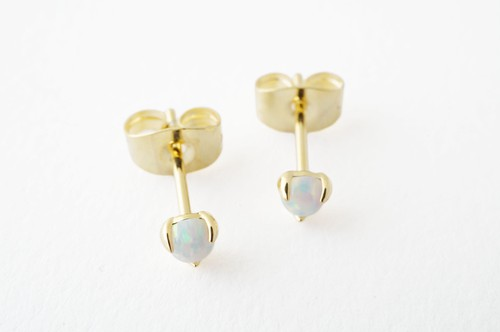 Opal Orb Solitaire Stud Earrings - orangeshine.com