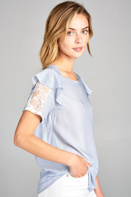 STRIPED DOUBLE SLEEVE TOP WITH LACE - orangeshine.com
