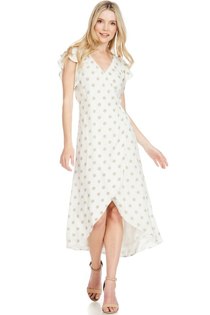 Polka dot hi-lo wrap dress - orangeshine.com