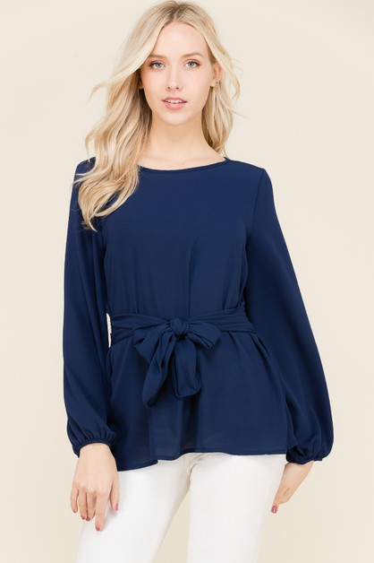 FRONT TIE LONG SLEEVE BLOUSE - orangeshine.com