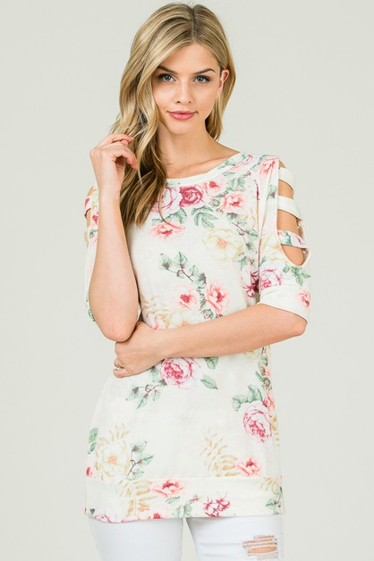LADDER SLEEVE FLORAL TOP  - orangeshine.com