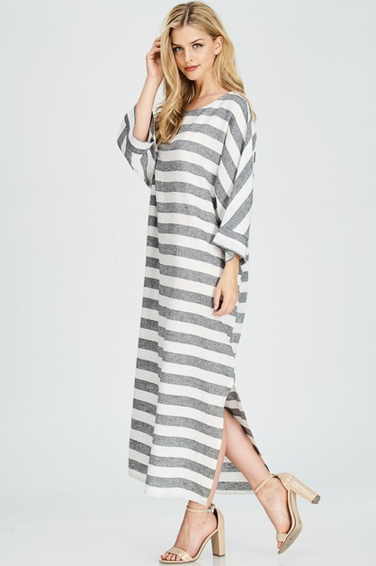 STRIPE LINEN MAXI DRESS w side slit - orangeshine.com