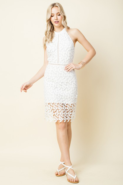 Lace High Neck Mini Dress - orangeshine.com