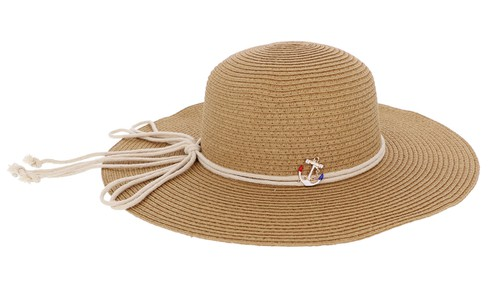 Floppy Straw Hat with Anchor - orangeshine.com