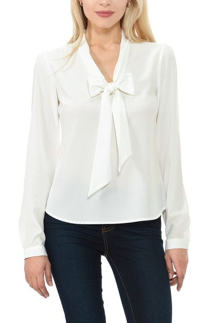 Woven Long Sleeve Solid Blouse  - orangeshine.com