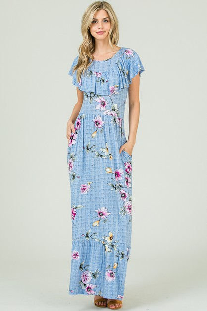 RUFFLED FLORAL MAXI DRESS - orangeshine.com