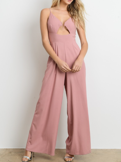 OPEN BACK SOLID COLOR BLUSH JUMPSUIT - orangeshine.com