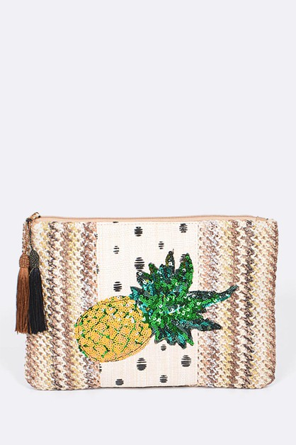 Sequins Pineapple Tasseled Pouch - orangeshine.com