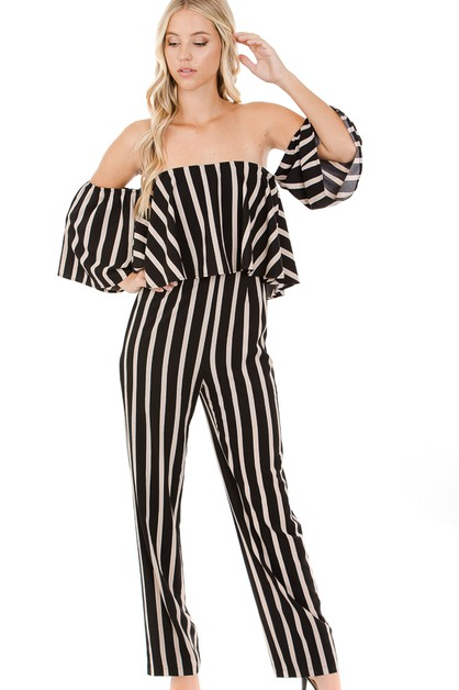 Stripe off the shoulder jumpsuit wit - orangeshine.com