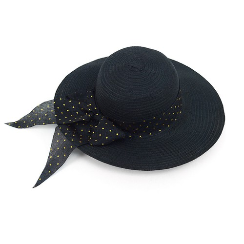 Women Wide Brim Black Floppy Hat - orangeshine.com