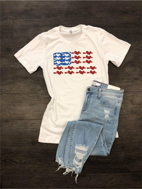 USA Flag with Heart Crew Neck Tee - orangeshine.com