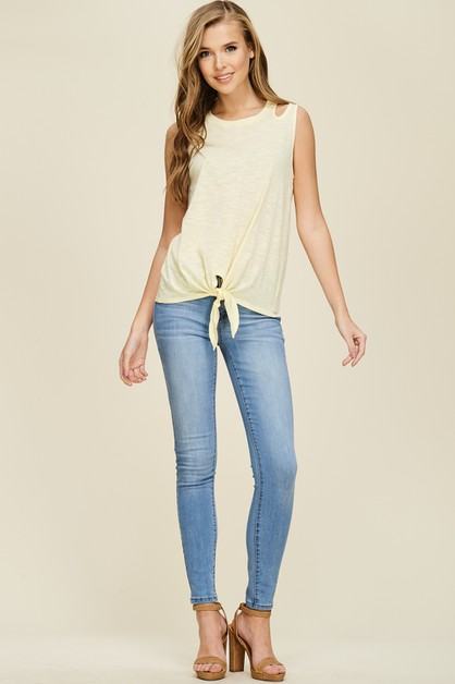 Front Knot Shoulder Cutout Top - orangeshine.com