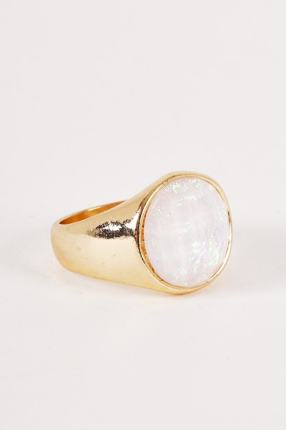 Size 7 Signet Glazed Crystal Ring - orangeshine.com