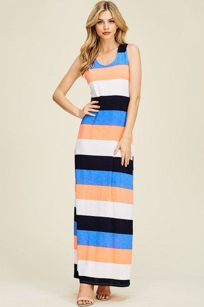 Sleeveless Striped Knit Maxi Dress - orangeshine.com