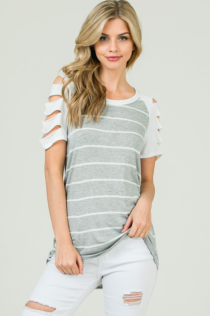 STRIPED TOP RAGLAN LADDER SLEEVES - orangeshine.com