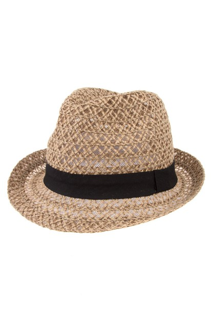 OPEN STRAW FEDORA BLACK BAND HAT - orangeshine.com
