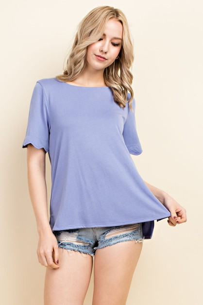 Hi Low Scalloped Short Sleeve Tpp - orangeshine.com