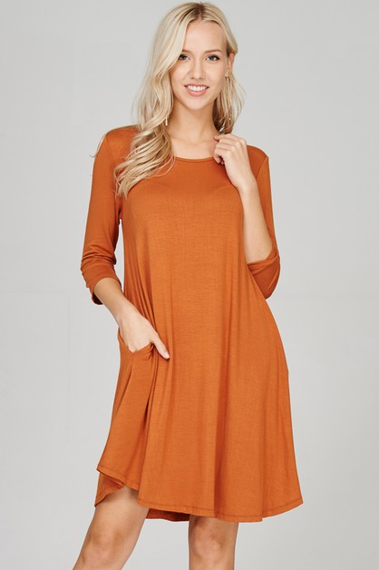 Comfy Scoop Neck Swing Dress-Pocket - orangeshine.com