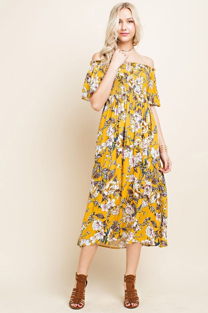Floral Off the Shoulder Maxi - orangeshine.com