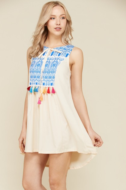 Embroidered Sleeveless Mini Dresses - orangeshine.com