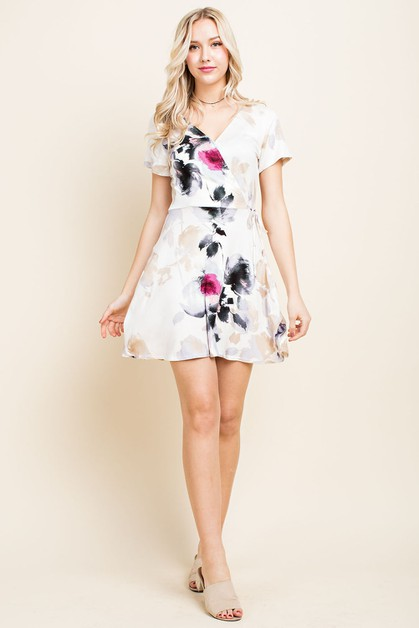 Watercolor Floral Wrap Dress - orangeshine.com