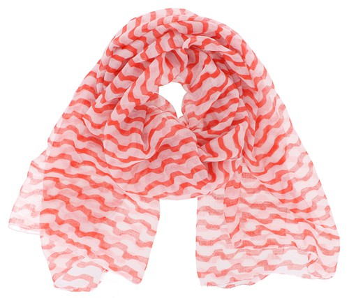 Orange Red Striped Oblong Scarf - orangeshine.com