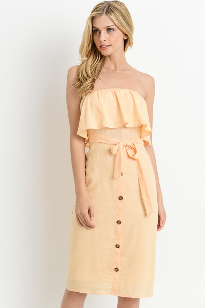 Ruffled Off Shoulder Dress - orangeshine.com