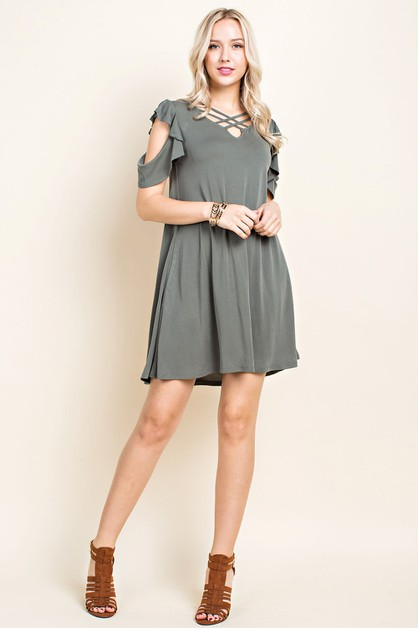 Cold Shoulder X-Front Dress - orangeshine.com