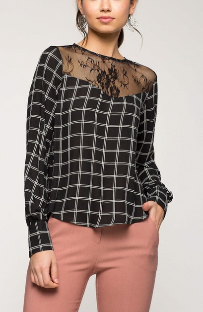 CHECK BURNOUT LACE LONG SLEEVES TOP - orangeshine.com