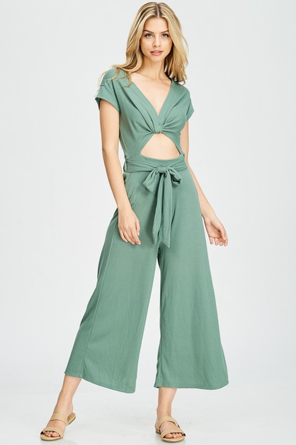 Belt Cutout Jumpsuit - orangeshine.com