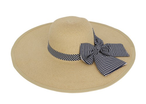 Blue Ribbon Bow Straw Floppy Hat - orangeshine.com