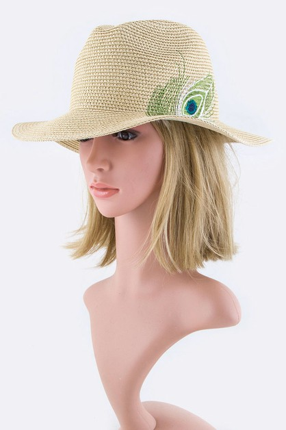 Peacock Feather Embroidery Straw Hat - orangeshine.com