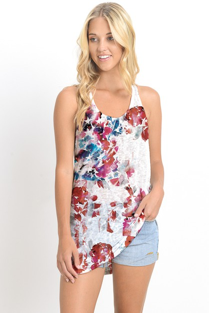 RACER BACK  LONG TANK TOP W PRINT - orangeshine.com