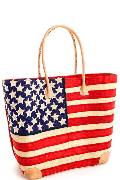 USA Flag Madagascar Handicraft Straw - orangeshine.com