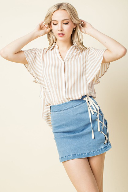 Striped Flutter Sleeve Blouse - orangeshine.com