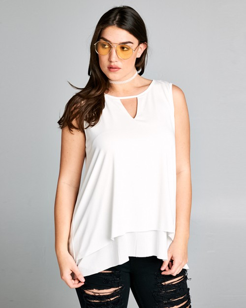 Sleeveless top with layered detail - orangeshine.com