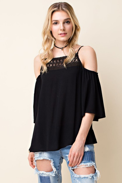 Crochet Trim Cold Shoulder Blouse - orangeshine.com