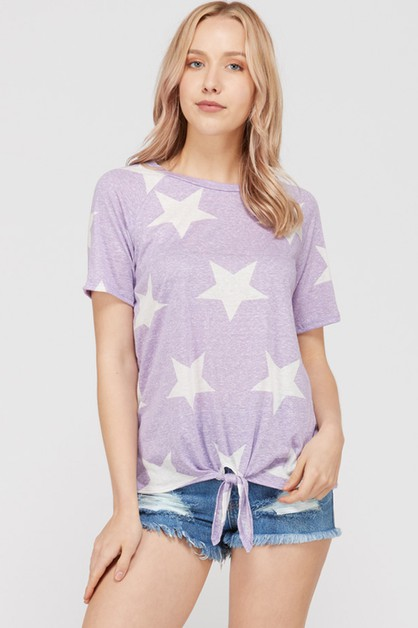 STAR PRINT TIE KNOT TOP  - orangeshine.com