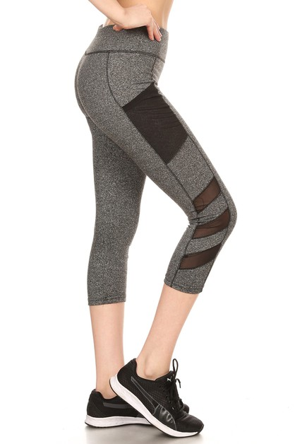 Sports Capris Leggings Mesh Pockets - orangeshine.com